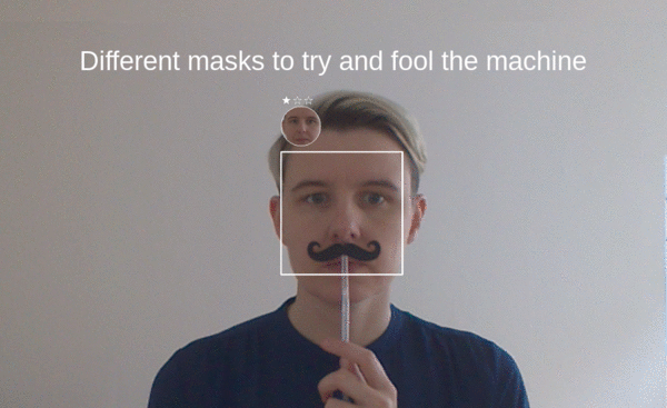 screenshot of face recognition game/